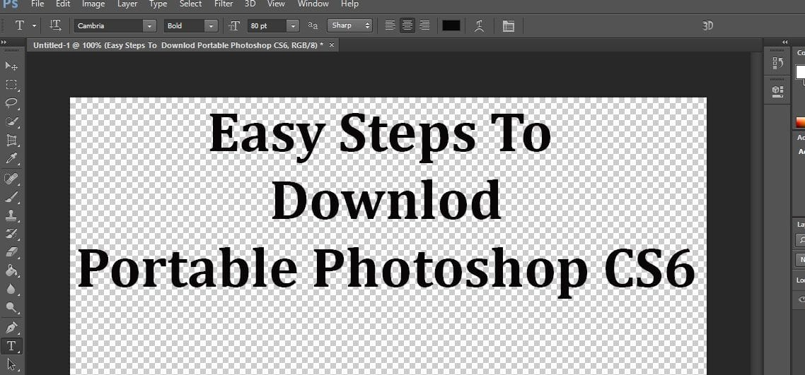 Free Download Portable Photoshop CS6  in Simple Steps.